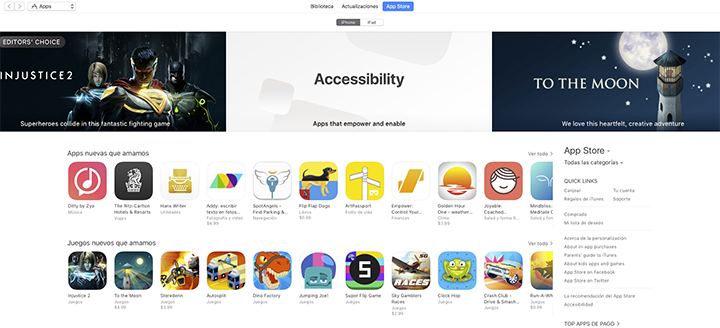 The category Accessibility is featured promenitely in this image of the iTunes App Store.